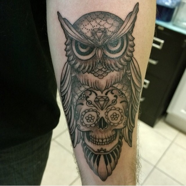 Owl Tattoo Forearm Tribal